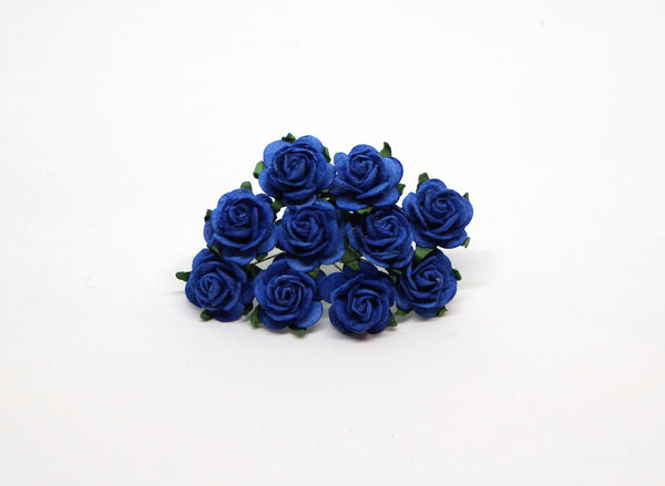 10 Pcs - Mulberry Paper Flowers - 2cm Rounded Petal Roses - Classic Blue
