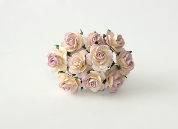 10 Pcs - Mulberry Paper Flowers - 2cm Rounded Petal Roses - Cream and Soft Lilac