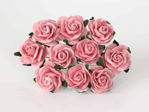 10 Pcs - Mulberry Paper Flowers - 2cm Rounded Petal Roses - Peachy Pink