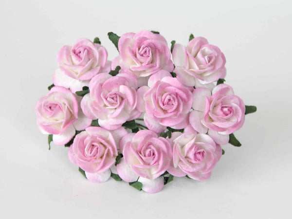 10 Pcs - Mulberry Paper Flowers - 2cm Rounded Petal Roses - Pink and White