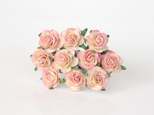 10 Pcs - Mulberry Paper Flowers - 2cm Rounded Petal Roses - Pink and Yellow