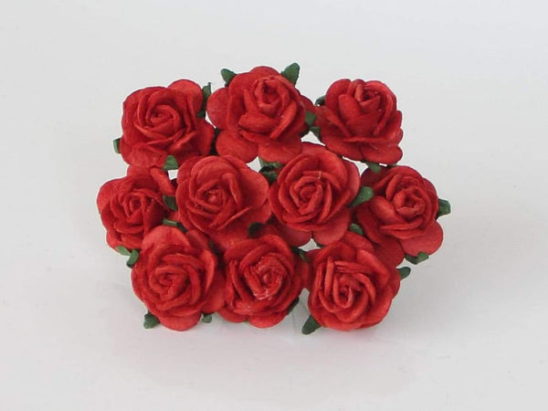 10 Pcs - Mulberry Paper Flowers - 2cm Rounded Petal Roses - Christmas Red