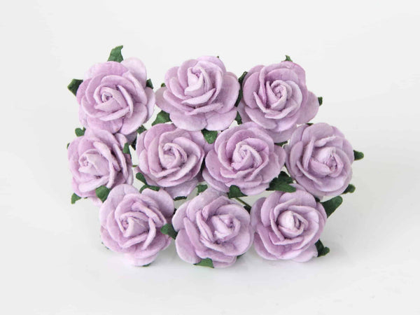 10 Pcs - Mulberry Paper Flowers - 2cm Rounded Petal Roses - Soft Lilac