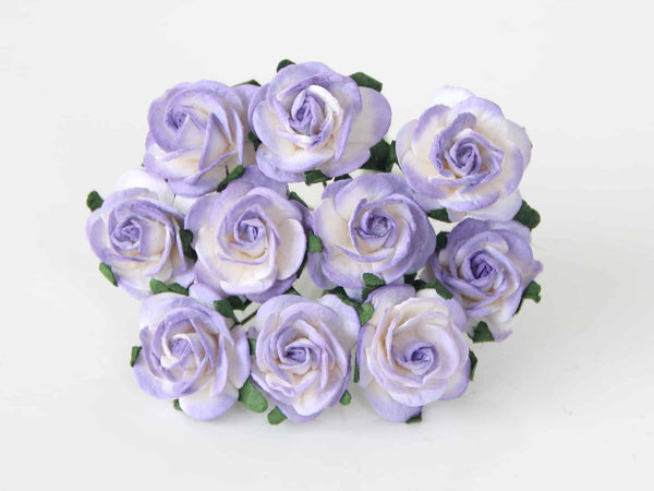 10 Pcs - Mulberry Paper Flowers - 2cm Rounded Petal Roses - White and Lilac