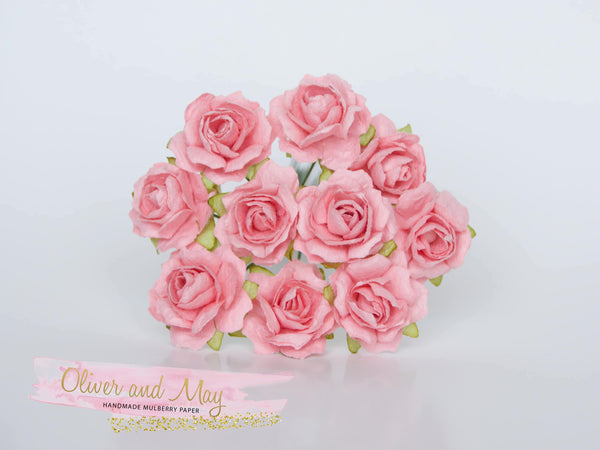 10 Pcs - Mulberry Paper Flowers - 2cm Tea Roses - Coral