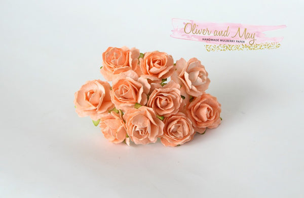 10 Pcs - Mulberry Paper Flowers - 2cm Tea Roses - Soft Orange