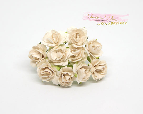 10 Pcs - Mulberry Paper Flowers - 2cm Tea Roses - White