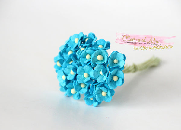 Bulk 50 Pack - Mulberry Paper Flowers - Mini 1cm Cherry Blossoms - Bright Blue