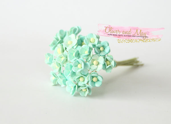 Bulk 50 Pack - Mulberry Paper Flowers - Mini 1cm Cherry Blossoms - Minty Green