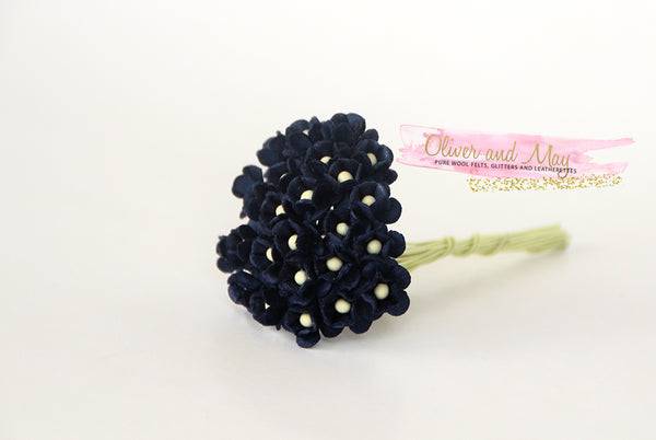 Bulk 50 Pack - Mulberry Paper Flowers - Mini 1cm Cherry Blossoms - French Navy