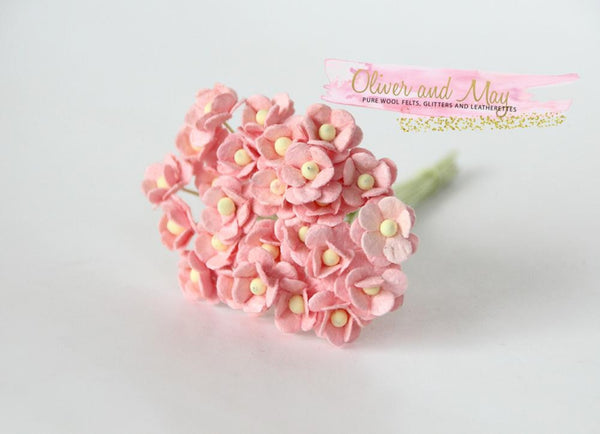 Bulk 50 Pack - Mulberry Paper Flowers - Mini 1cm Cherry Blossoms - Peachy Pink