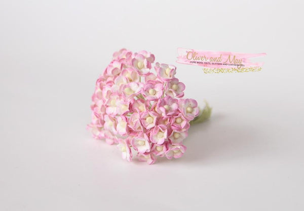 Bulk 50 Pack - Mulberry Paper Flowers - Mini 1cm Cherry Blossoms -  Pink and White