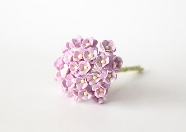 Bulk 50 Pack - Mulberry Paper Flowers - Mini 1cm Cherry Blossoms -  Soft Lilac