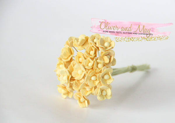 Bulk 50 Pack - Mulberry Paper Flowers - Mini 1cm Cherry Blossoms - Soft Yellow