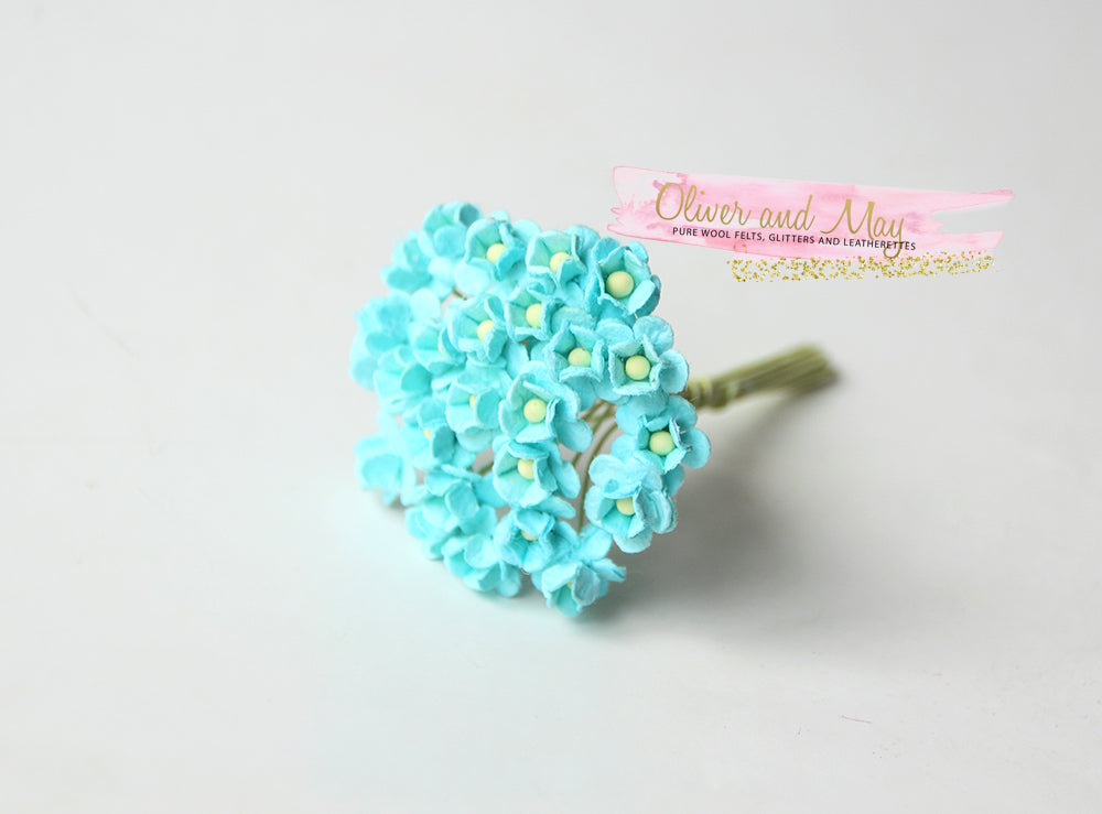 Bulk 50 Pack - Mulberry Paper Flowers - Mini 1cm Cherry Blossoms - Turquoise