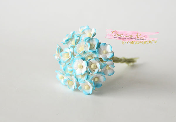 Bulk 50 Pack - Mulberry Paper Flowers - Mini 1cm Cherry Blossoms - Turquoise and White