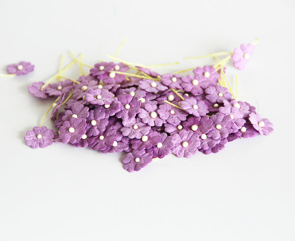 10 Pcs - Mulberry Paper Flowers - Tiny Flat Flowers - Lilac