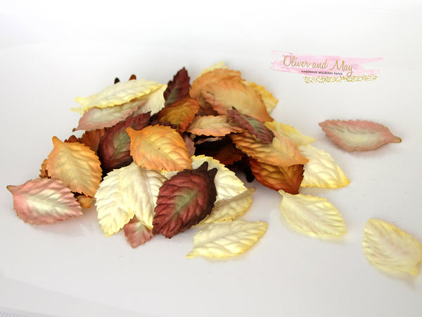 50 pcs Mulberry Paper Leaves - Yellow Brown Shades Mix