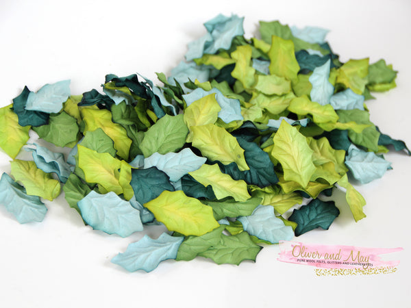 50 pcs Mulberry Paper Medium Holly Leaves - Shades of Green