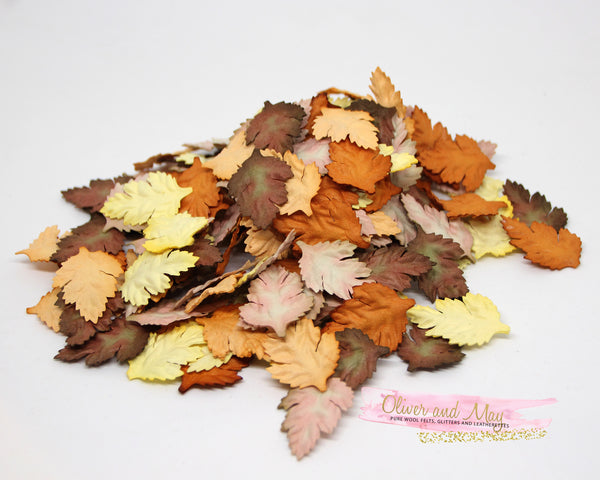 50 pcs Mulberry Paper Wild Rose Leaves - Shades of Autumn Fall