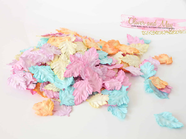 50 pcs Mulberry Paper Wild Roses Leaves - Pastel Shades