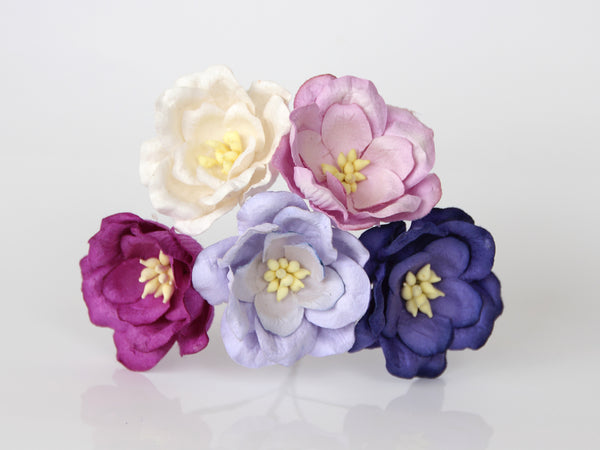Bulk 50 Pack - Mulberry Paper Flowers - 4cm Magnolias - Shades of Lilac