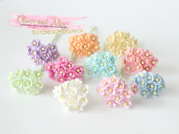 Bulk 100 Pack - Mulberry Paper Flowers - 1-2cm Cherry Blossoms - Soft Pastel Shades