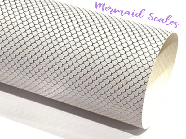 White Mermaid Scales Leatherette Fabric Sheet - Gold foil