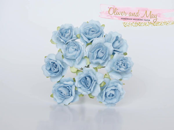 10 Pcs - Mulberry Paper Flowers - 2cm Tea Roses - Blue