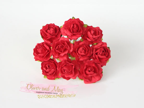 10 Pcs - Mulberry Paper Flowers - 2cm Tea Roses - Red