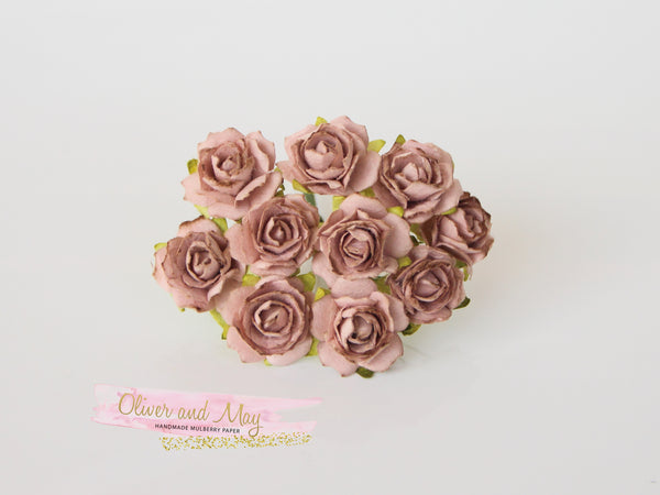 10 Pcs - Mulberry Paper Flowers - 2cm Tea Roses - Soft Beige