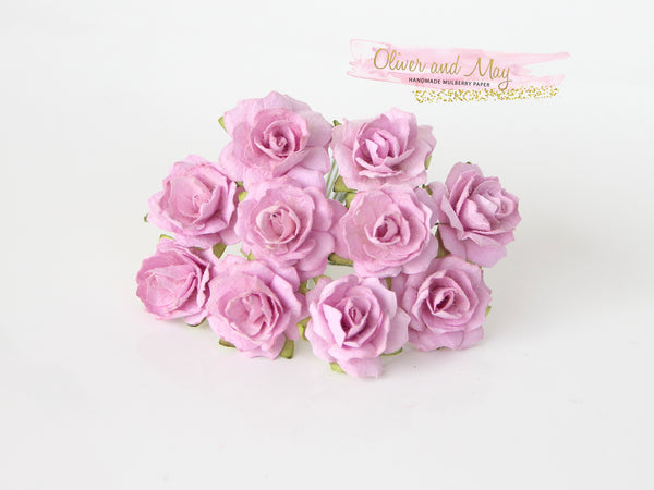 10 Pcs - Mulberry Paper Flowers - 2cm Tea Roses - Soft Lilac