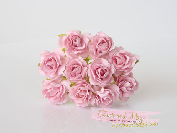 10 Pcs - Mulberry Paper Flowers - 2cm Tea Roses - Soft Pink