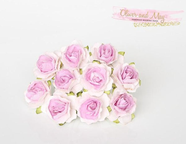 10 Pcs - Mulberry Paper Flowers - 2cm Tea Roses - White with Lilac Centre