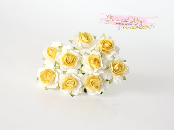 10 Pcs - Mulberry Paper Flowers - 2cm Tea Roses - White and Yellow Centre