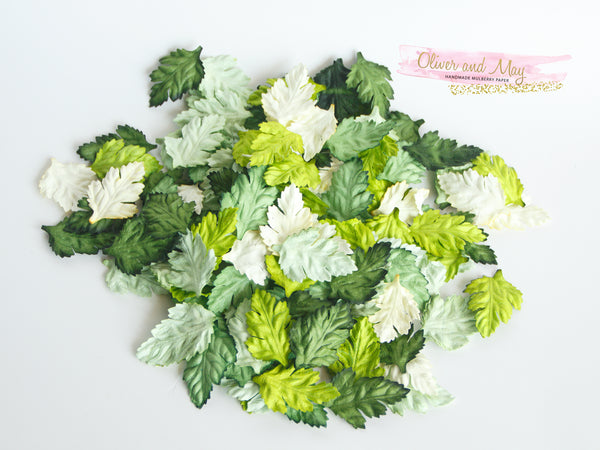 50 pcs Mulberry Paper Wild Rose Leaves - Green Shades
