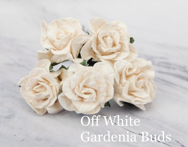 PRE ORDER 5pcs Off White  - Mulberry Paper Gardenia Buds - 30mm / 3cm