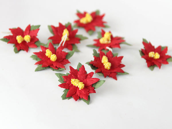 10 Red Poinsetta - Mulberry Paper Flowers - Small 3cm