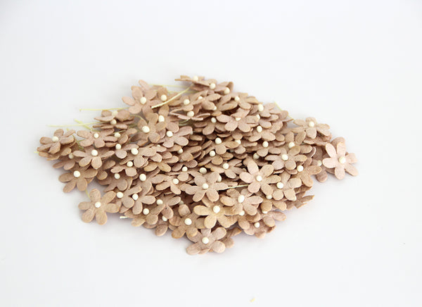 10 Pcs - Mulberry Paper Flowers - Tiny Flat Flowers - Beige