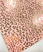 Metallic Velour Leopard Print Soft Fabric Sheets - Peach and Gold Metallic