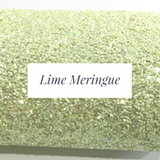 Pale Lime Chunky Glitter Fabric Sheet 1.0mm thickness A5 orA4 Size Glitter Fabric - Lime Meringue