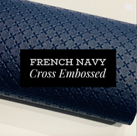 French Navy Cross Embossed Faux Leatherette Fabric Sheets