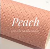 Peach Cross Embossed Faux Leatherette A4 sheets
