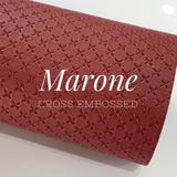 Marone Cross Embossed Faux Leatherette A4 sheets
