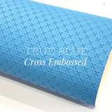 True Blue Cross Embossed Faux Leatherette
