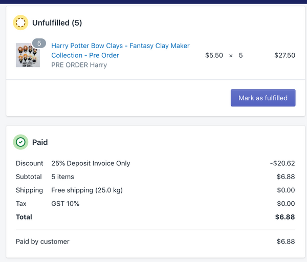 Final Invoice for Harry Potter Clay Order