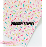Marshmallow Sprinkles Chunky Glitter Fabric Sheet