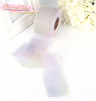 "Soft Pastel Rainbow Glitter Tulle 2.36"" 6cm x 5 Yard Lot"