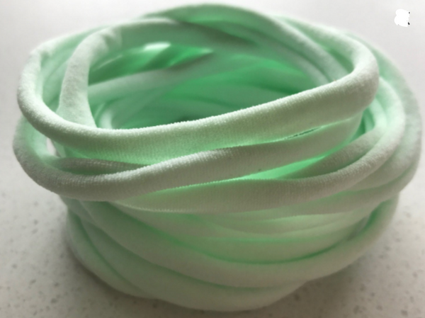 PALE MINT Nylon Headbands, Soft Nylon Bands, Baby Headbands, DIY Bows, Hair Bow Supplies, DIY Supplies, One Size Fits Most Headbands