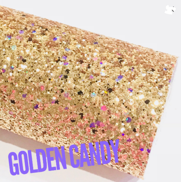 Golden Candy Chunky Glitter with Pastel Iridescent Sequins A4 Sheet